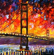 Afremov Framed Prints - Golden Gate Bridge  Framed Print by Leonid Afremov