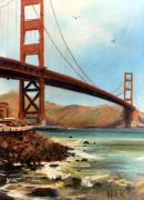Bay Pastels Posters - Golden Gate Bridge Looking North Poster by Donald Maier