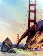Golden Gate Pastels Posters - Golden Gate Bridge Looking South Poster by Donald Maier