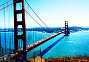 Bay Bridge Mixed Media Metal Prints - Golden Gate Bridge Metal Print by Rick Thiemke