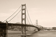 Suspension Posters - Golden Gate Bridge San Francisco - A thirty-five million dollar steel harp Poster by Christine Till