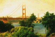 Oil On Canvas Drawings - Golden Gate Bridge San Francisco - Oil by Peter Art Prints Posters Gallery