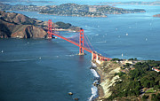 Aerial View Posters - Golden Gate Bridge Poster by Stickney Design