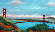 Golden Gate Drawings Posters - Golden Gate Bridge Poster by Tina McCurdy