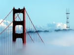 San Francisco Giant Prints - Golden Gate Bridge Tower Fog Antenna Print by Jeff Lowe
