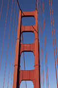 Golden Gate Framed Prints - Golden Gate Bridge Tower Framed Print by Garry Gay
