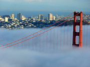 San Francisco Giant Photos - Golden Gate Bridge Tower in Sunshine and Fog by Jeff Lowe
