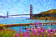 Bay Area Digital Art Posters - Golden Gate Bridge Viewed From Fort Baker Poster by Wingsdomain Art and Photography