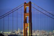 High County Gold Framed Prints - Golden Gate Bridge Framed Print by William Waterfall - Printscapes