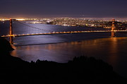 Moonlit Night Photos - Golden Gate Bridge With Moonlit Reflections by Tim Atwater