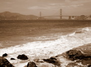China Beach Prints - Golden Gate Bridge with Shore - Sepia Print by Carol Groenen