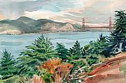 San Francisco Bay Painting Framed Prints - Golden Gate Framed Print by Donald Maier