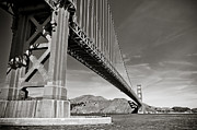 Headlands Posters - Golden Gate from the Water - BW Poster by Darcy Michaelchuk