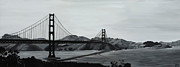 Photorealistic Framed Prints - Golden Gate in Black and White Framed Print by Sharon Von Ibsch