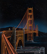 Structure Mixed Media Posters - Golden Gate Poster by Lynette Cook