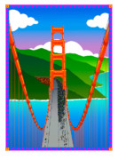 Screen Print Metal Prints - Golden Gate Metal Print by Phil Dynan