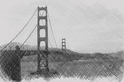 San Francisco Cali Prints - Golden Gate Sketch Print by Sean Gillespie