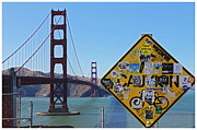 Frisco Prints - Golden Gate Stickers Print by Cedric Darrigrand