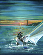 San Francisco Bay Drawings Prints - Golden Gate Sunset Sailors Print by Graciela Placak