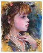 Children Pastels Framed Prints - Golden Girl Framed Print by Debra Jones
