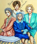 Girls Mixed Media Originals - Golden Girls by Joseph Lawrence Vasile