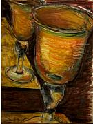 Wine Glasses Paintings - Golden Glasses by Susan Jenkins