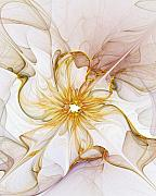 Abstract Flowers Digital Art - Golden Glow by Amanda Moore