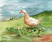 Waterfowl Paintings - Golden Goose by Brenda Thour