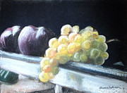 Purple Grapes Pastels Framed Prints - Golden Grapes with Plums Framed Print by Laura Sullivan