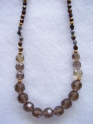 Gray Jewelry - Golden Gray Faceted Crystal Necklace by Yvette Pichette