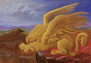 Egg Tempera Painting Prints - Golden Gryphon on Top of the Alps Print by Evelyn Cammarano