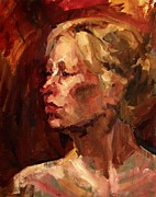 Quite Originals - Golden Hair Portrait of Woman Head in Crimson Yellow Hardworking Fieldworker Mother Whos Thoughtful by M Zimmerman MendyZ