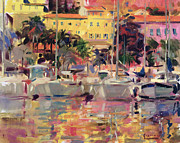 Tropical Trees Paintings - Golden Harbour Vista  by Peter Graham