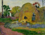 Farmyard Painting Posters - Golden Harvest Poster by Paul Gauguin