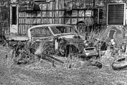 Rusted Cars Photos - Golden Hawk in Monotone by Kathleen Stephens