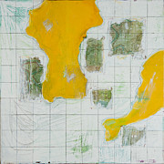 Maps Paintings - Golden by Jessica Breedlove Latham