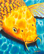 Animals Tapestries - Textiles Prints - Golden Koi Print by Daniel Jean-Baptiste