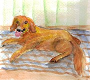 Gold Labrador Paintings - Golden Lab by Debbie Wassmann