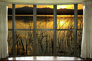 Abtracts Framed Prints - Golden Lake bay Picture Window View Framed Print by James Bo Insogna