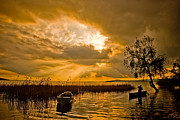 Nebule Prints - Golden Lake Print by Okan YILMAZ