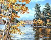 Pine Trees Paintings - Golden Lake by Richard De Wolfe