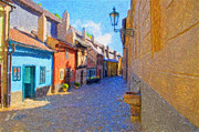 Czech Republic Digital Art Metal Prints - Golden Lane in Prague Metal Print by Diane Macdonald
