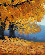 Realist Paintings - Golden Leaves by Graham Gercken