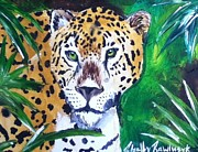 Golden Leopard Framed Prints - Golden Leopard Framed Print by Shelby Rawlusyk
