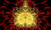 Lea Wiggins Metal Prints - Golden Mandelbrot Metal Print by Lea Wiggins
