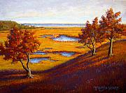 Water Pastels - Golden Marsh by Tanja Ware