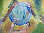 Globe Painting Originals - Golden mask hero by Judith Desrosiers