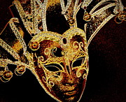 Party Digital Art - Golden Mask by Lori Seaman