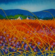 Contemporary Acrylic Painting Posters - Golden Meadow Poster by John  Nolan