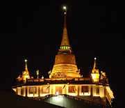 Historic Sites Posters - Golden Mount Temple Bangkok Poster by Bob Christopher